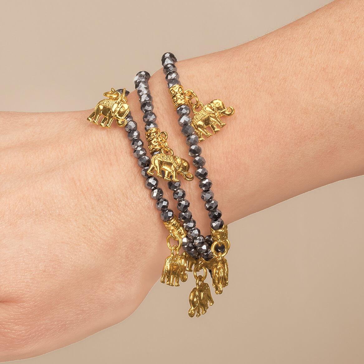 Gold Elephant Stretch Bracelet Set of 3