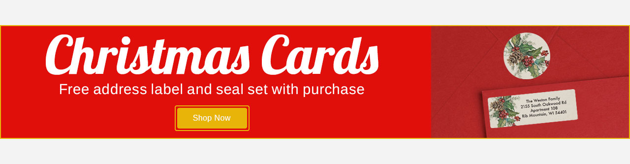 Christmas Cards  -Buy 1 Get one set of universal labels & seals Free