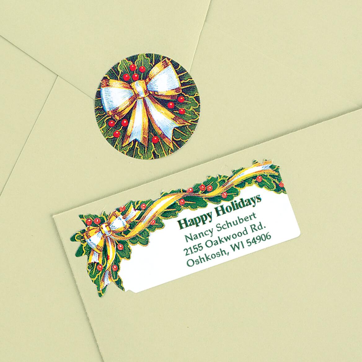 Holly and Ribbon Labels and Seals-311853