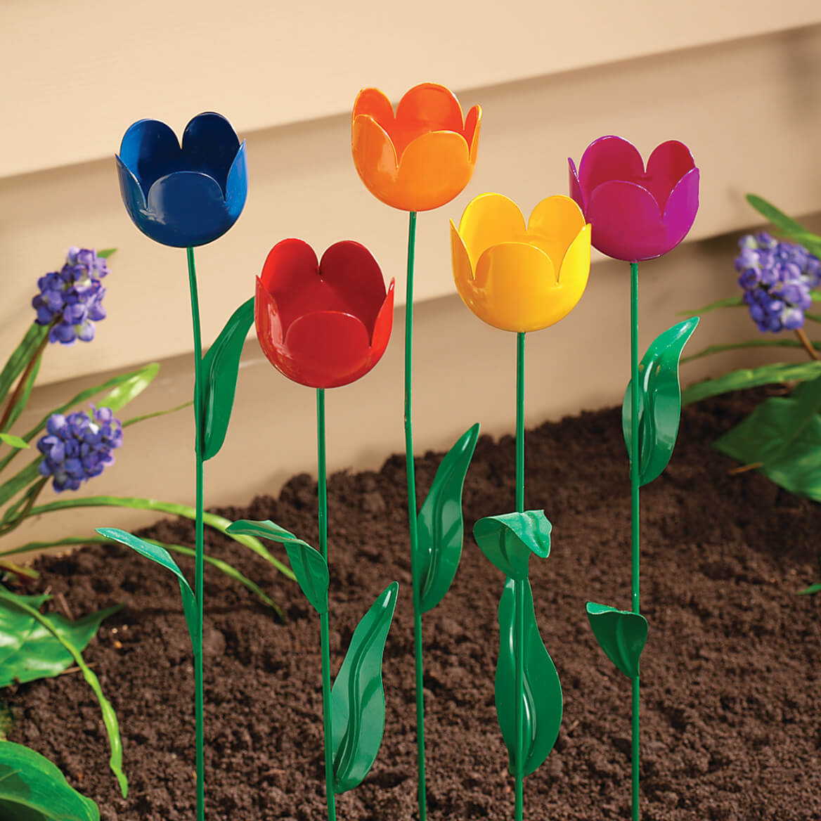 Metal Tulip Stakes, Set of 5-312866
