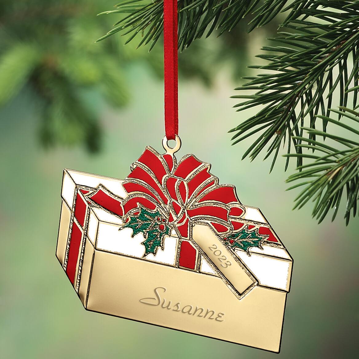 Personalized Brass Present Ornament-314158