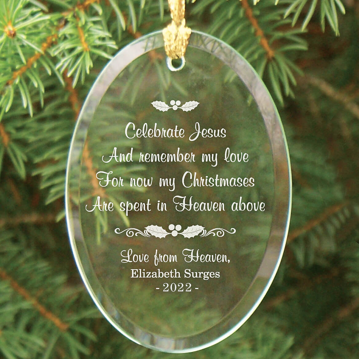 Personalized Christmas In Heaven Glass Ornament - Miles Kimball
