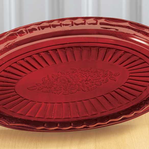 Red Glass Serving Platter-339281