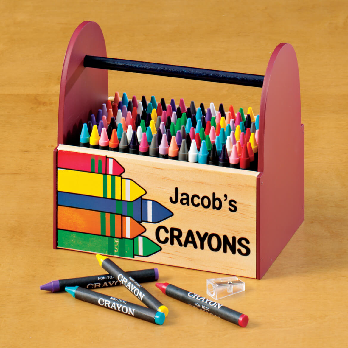 personalized wooden crayon caddy wooden crayon caddy miles kimball