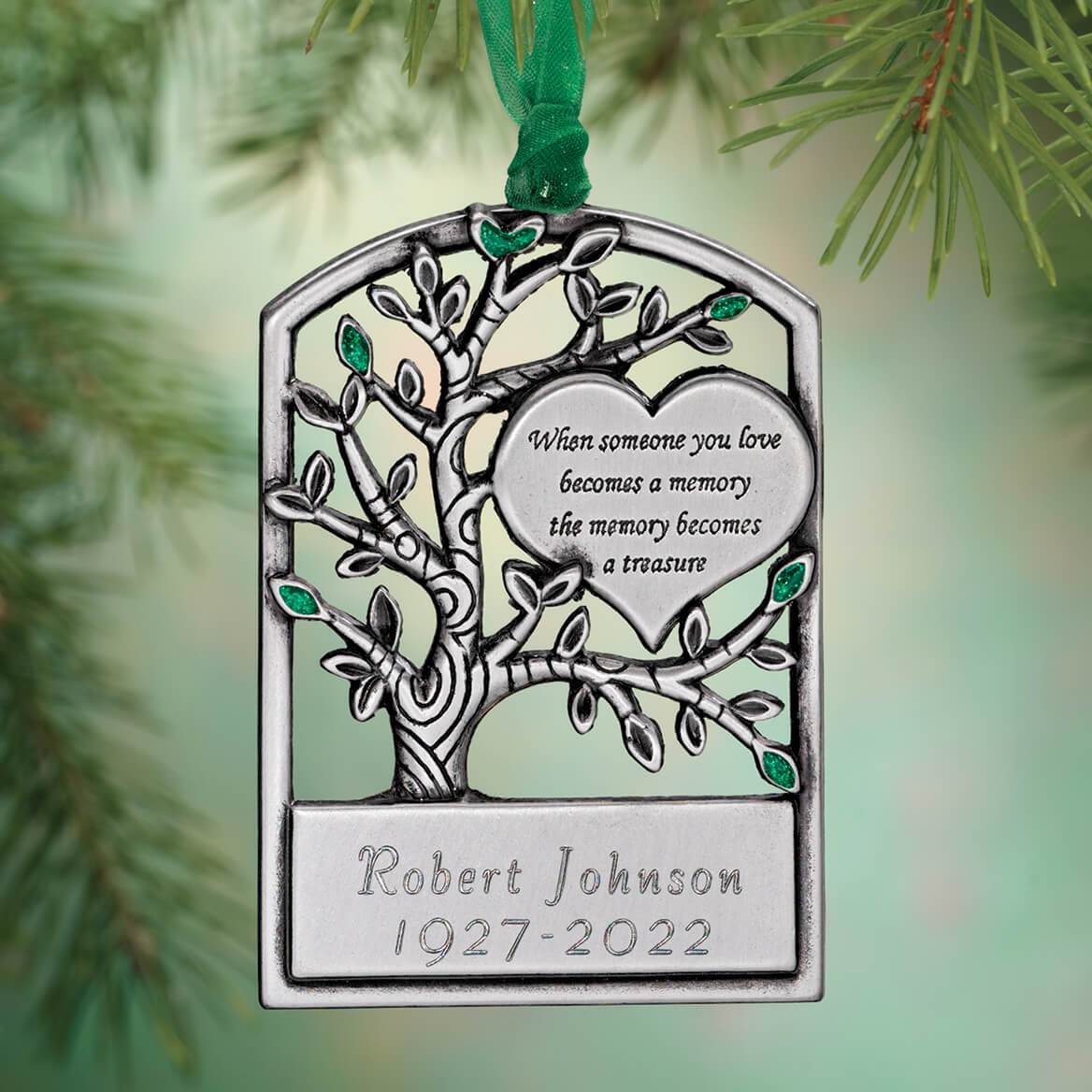 Personalized Pewter Memorial Tree Christmas Ornament ...