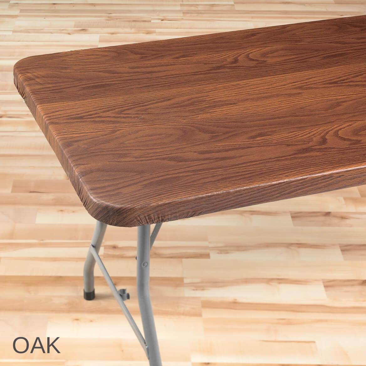 Wood Grain Vinyl Elasticized Banquet Table Cover-344629