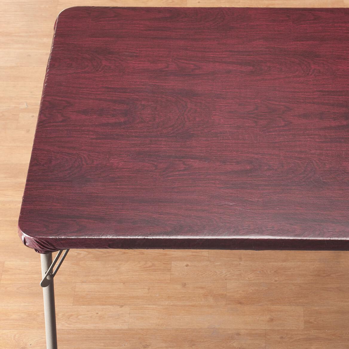 Wood Grain Elasticized Table Cover Miles Kimball