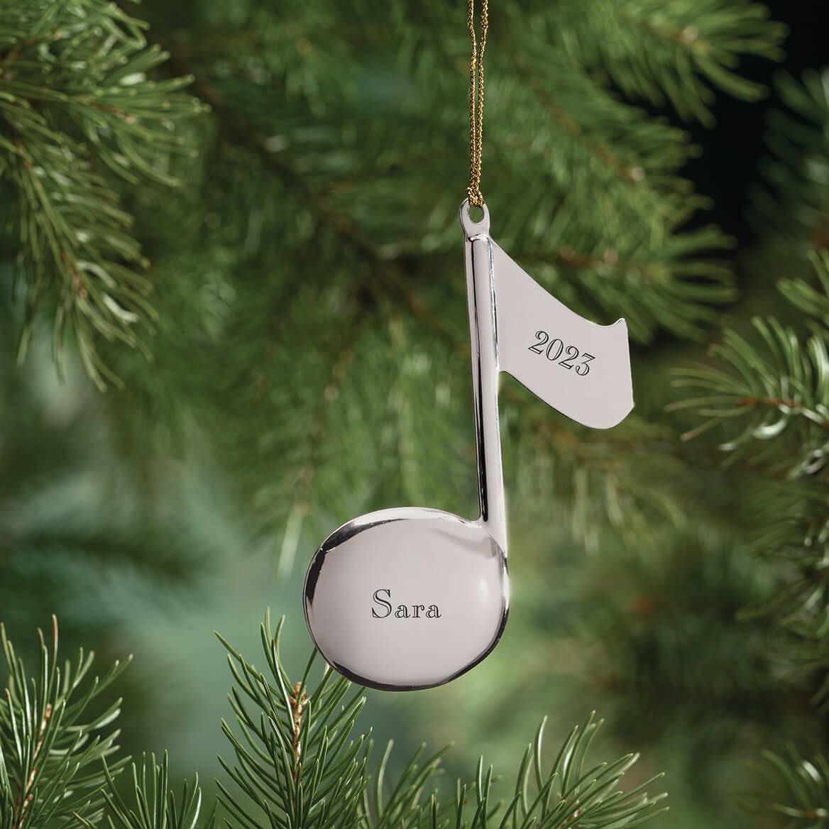 Personalized Silvertone Music Note Ornament-346241