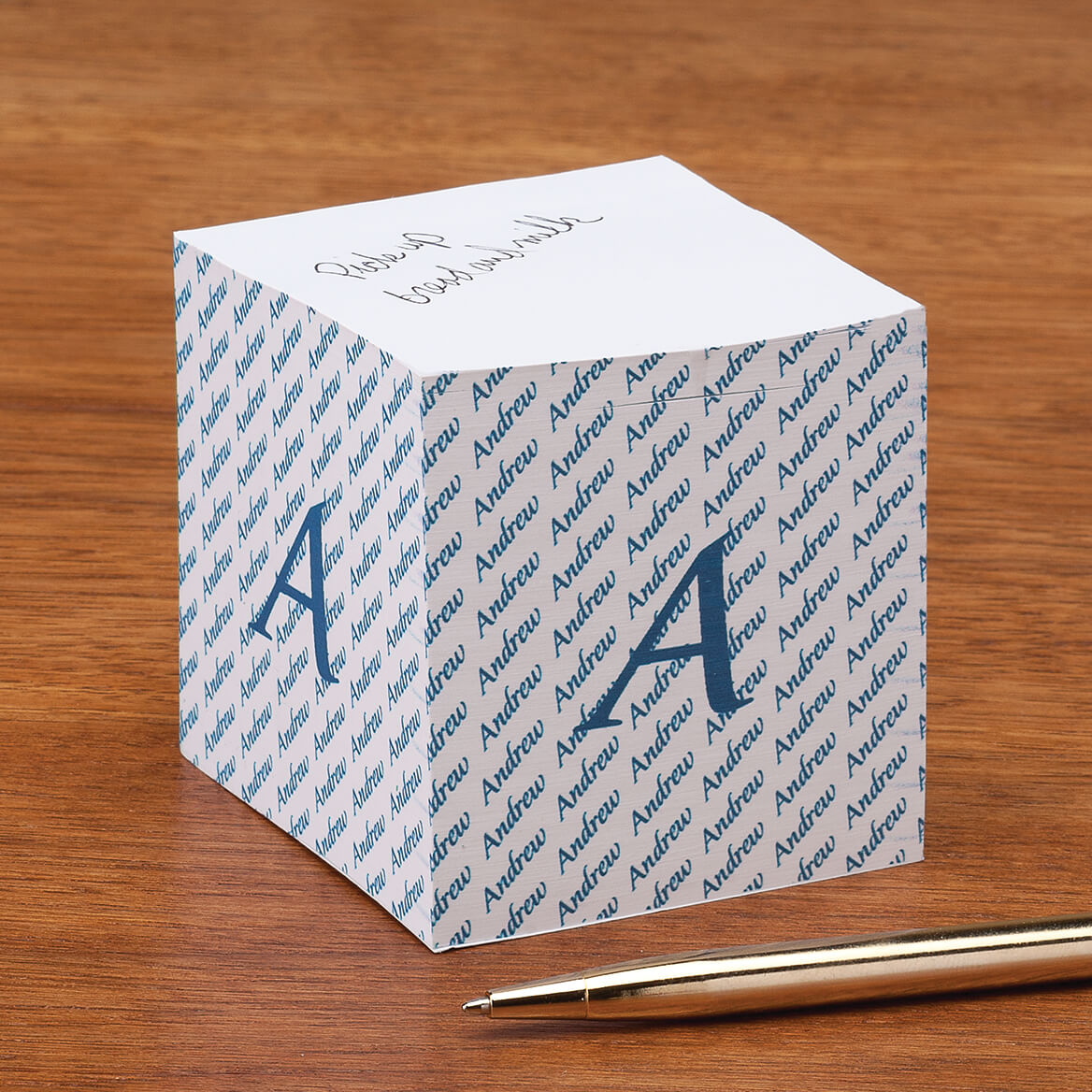 Personalized Initial Self Stick Note Cube - Miles Kimball