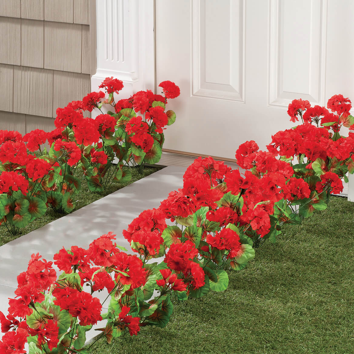 artificial red geraniums artificial oudoor flowers miles kimball. Black Bedroom Furniture Sets. Home Design Ideas