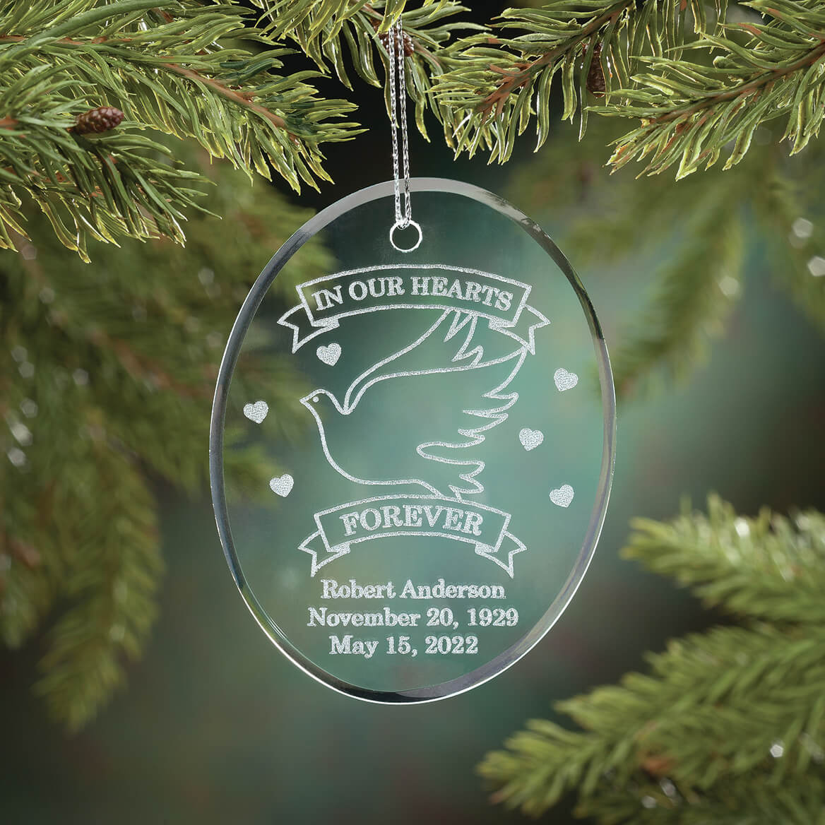 personalized memorial ornament glass ornament miles kimball