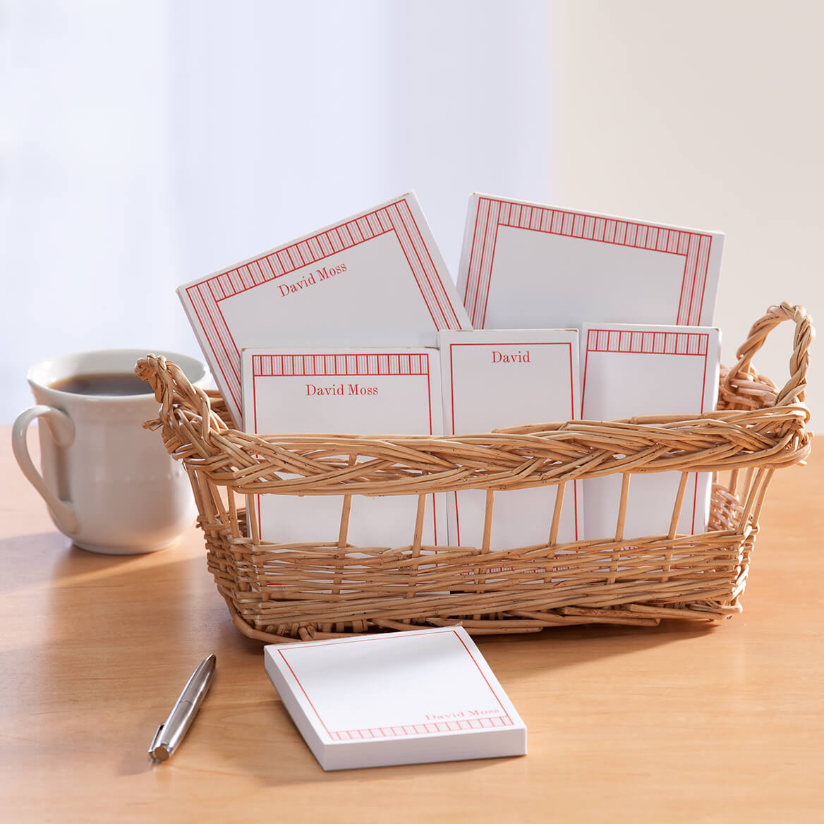 Personalized Vertical Stripes Basketful of Notepads-349464