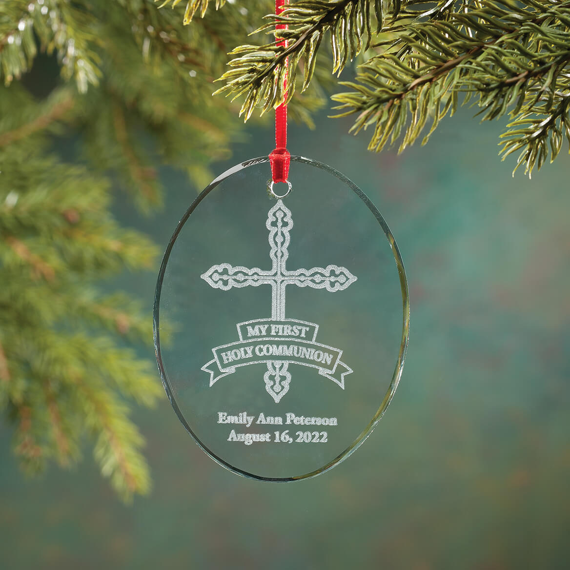 Personalized Glass Communion Ornament-349933