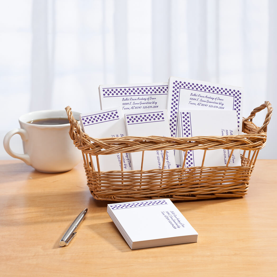 Personalized Polka Dots Business Basketful of Notepads-350384