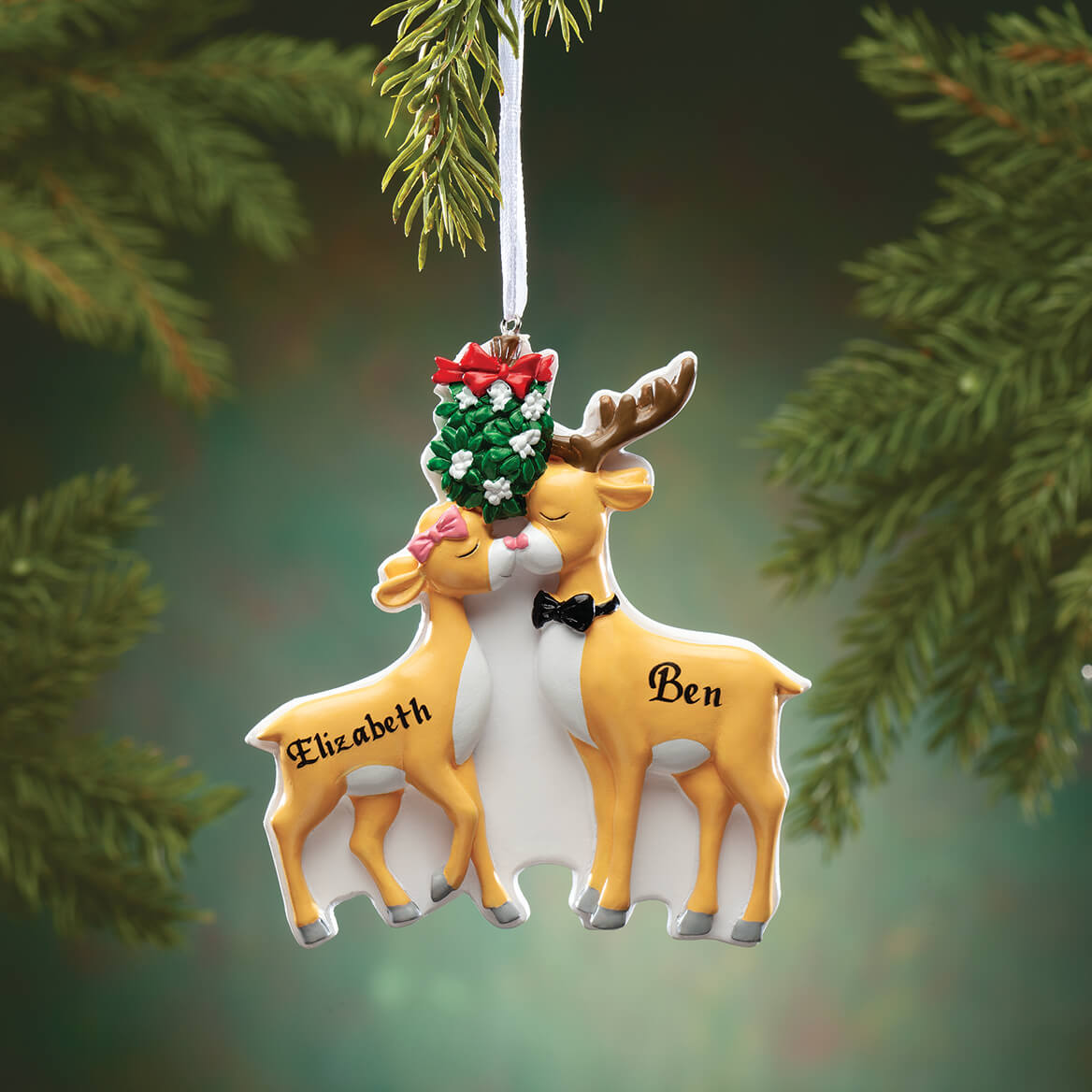 Personalized Kissing Reindeer Couple Ornament - Miles Kimball