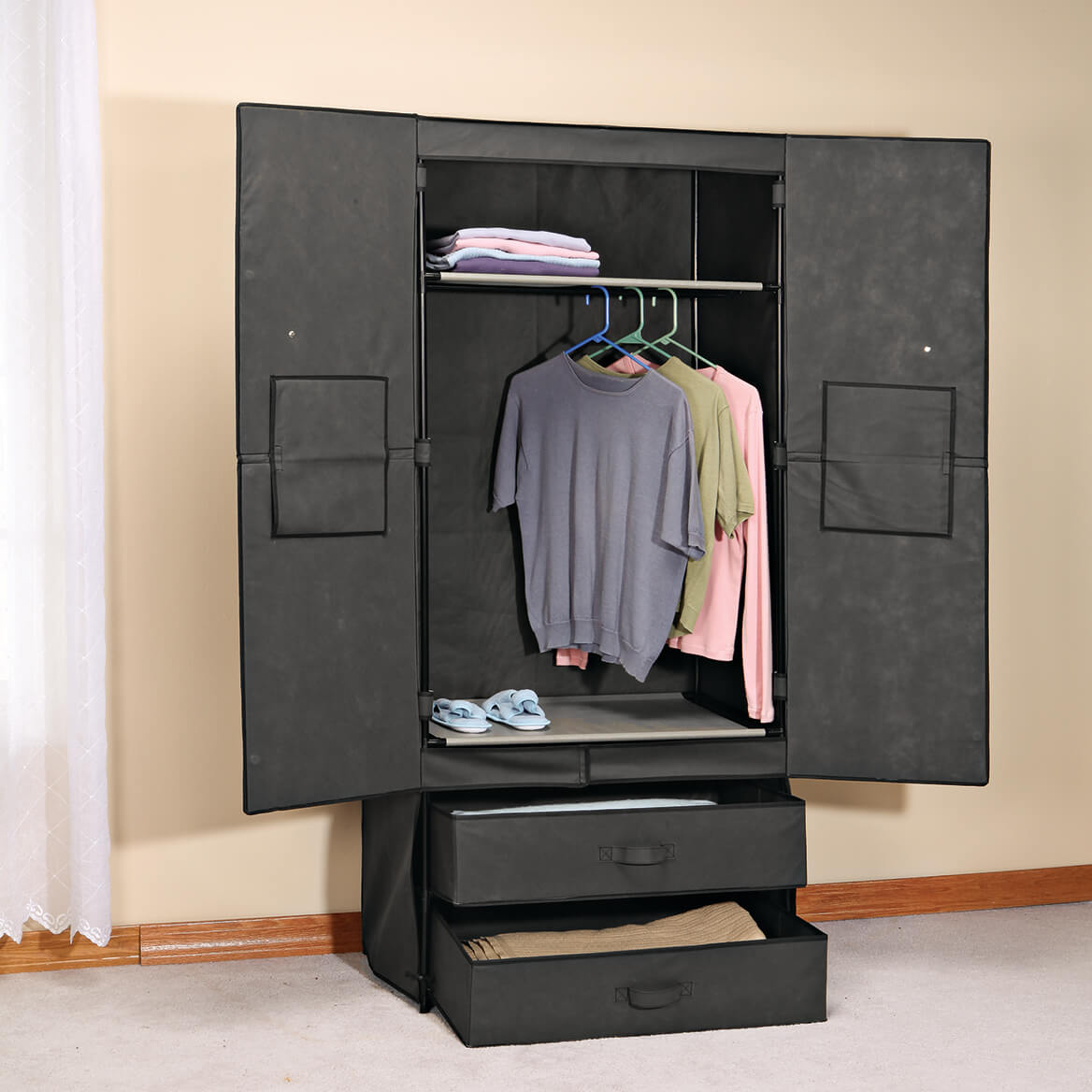Clothing Wardrobe with Magnetic Doors & Clothing Wardrobe with Magnetic Doors - Portable Wardrobe - Miles ...