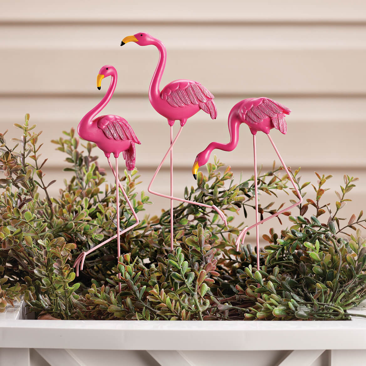 Flamingo Planter Stakes, Set of 3 by Fox River Creations™-355088