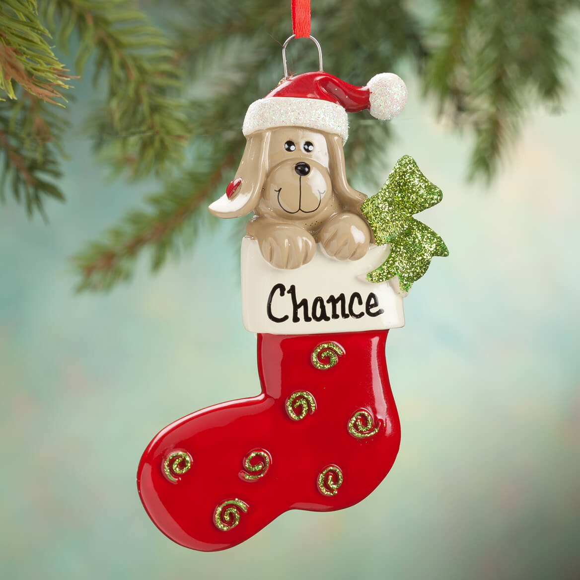 Personalized Happy Pup Stocking Ornament-355734