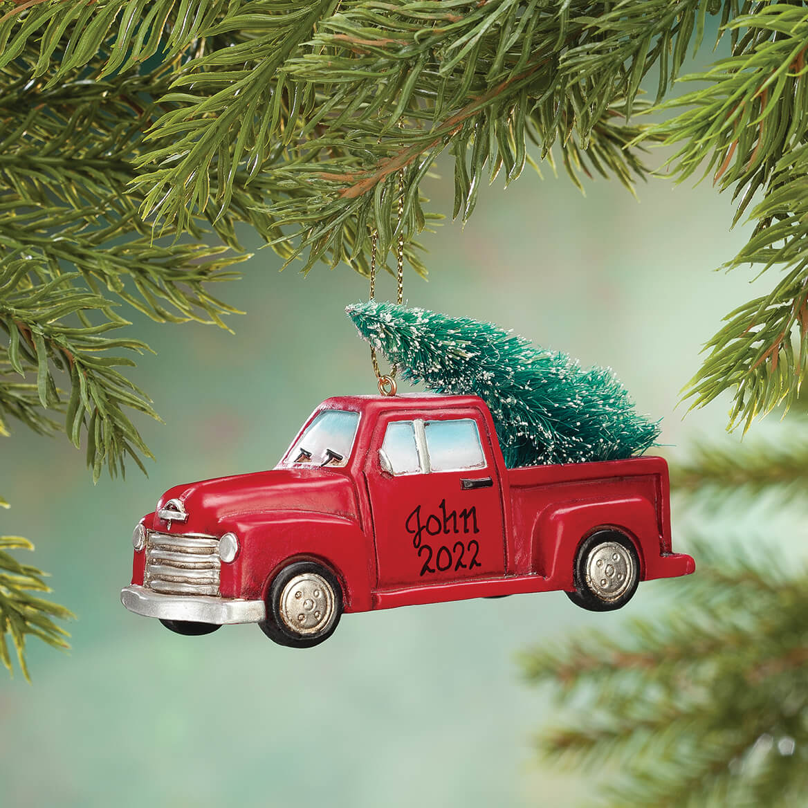 Personalized Red Truck with Tree Ornament-356108