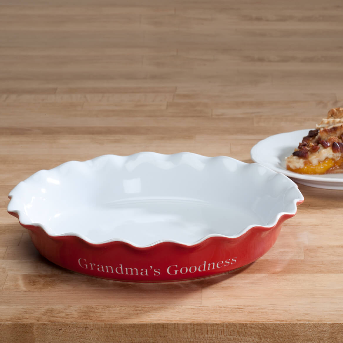 Personalized Red Ceramic Pie Dish & Personalized Red Ceramic Pie Dish - Miles Kimball