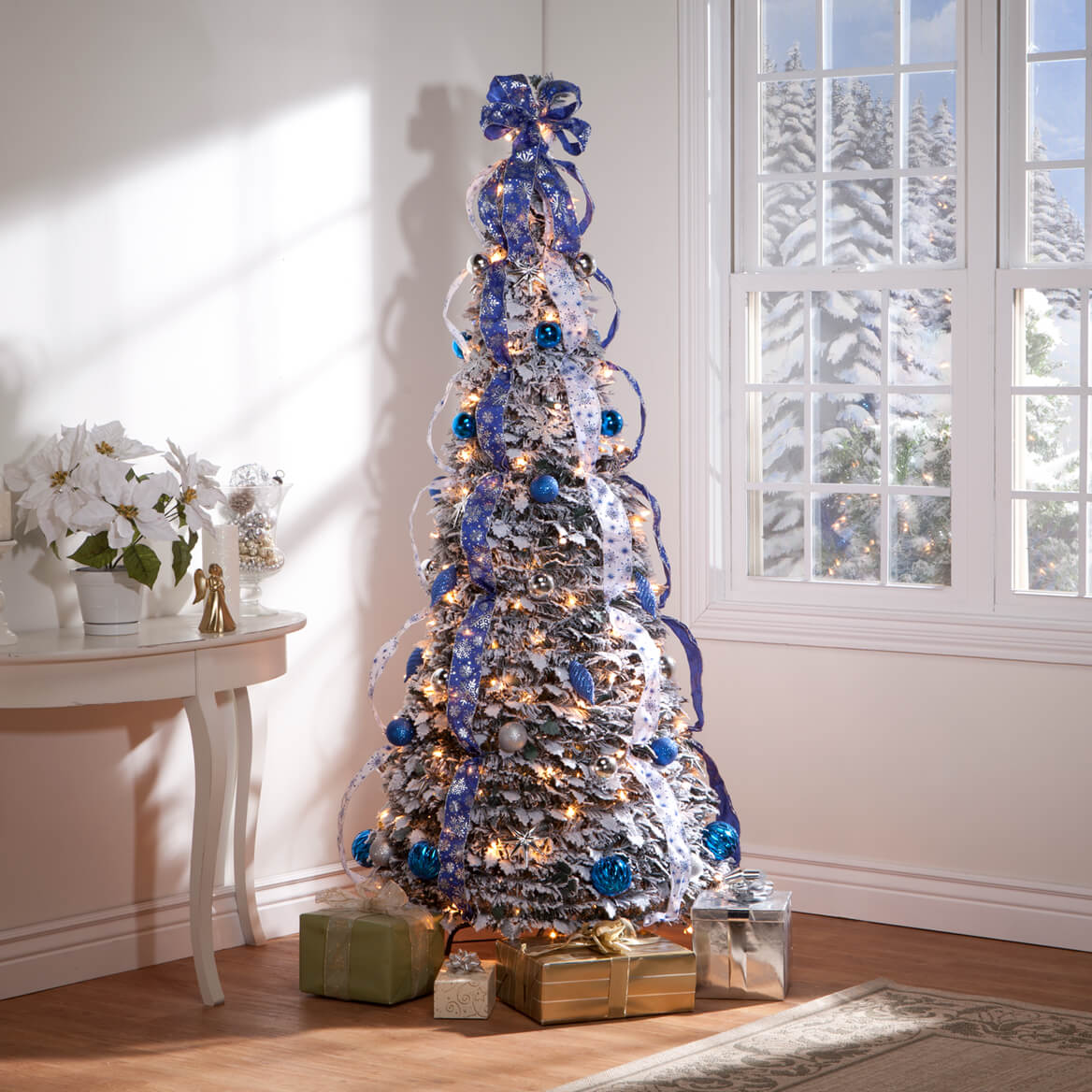 6 foot fully decorated flocked pull up tree by northwoods 356287 - Fully Decorated Christmas Tree