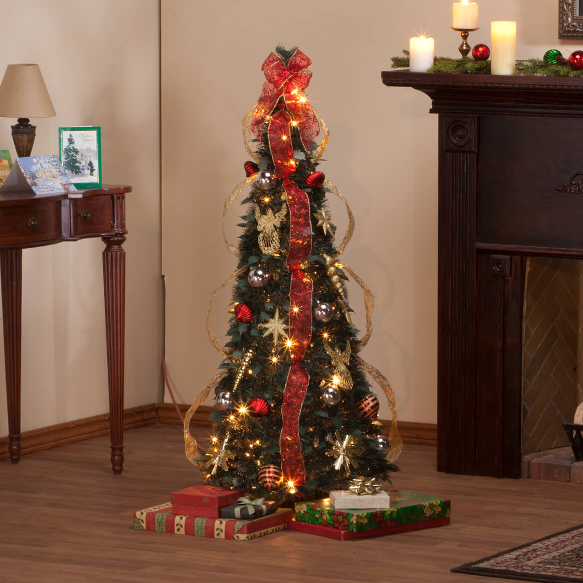 4 foot fully decorated red gold pull up tree by northwoods - Buy Fully Decorated Christmas Tree
