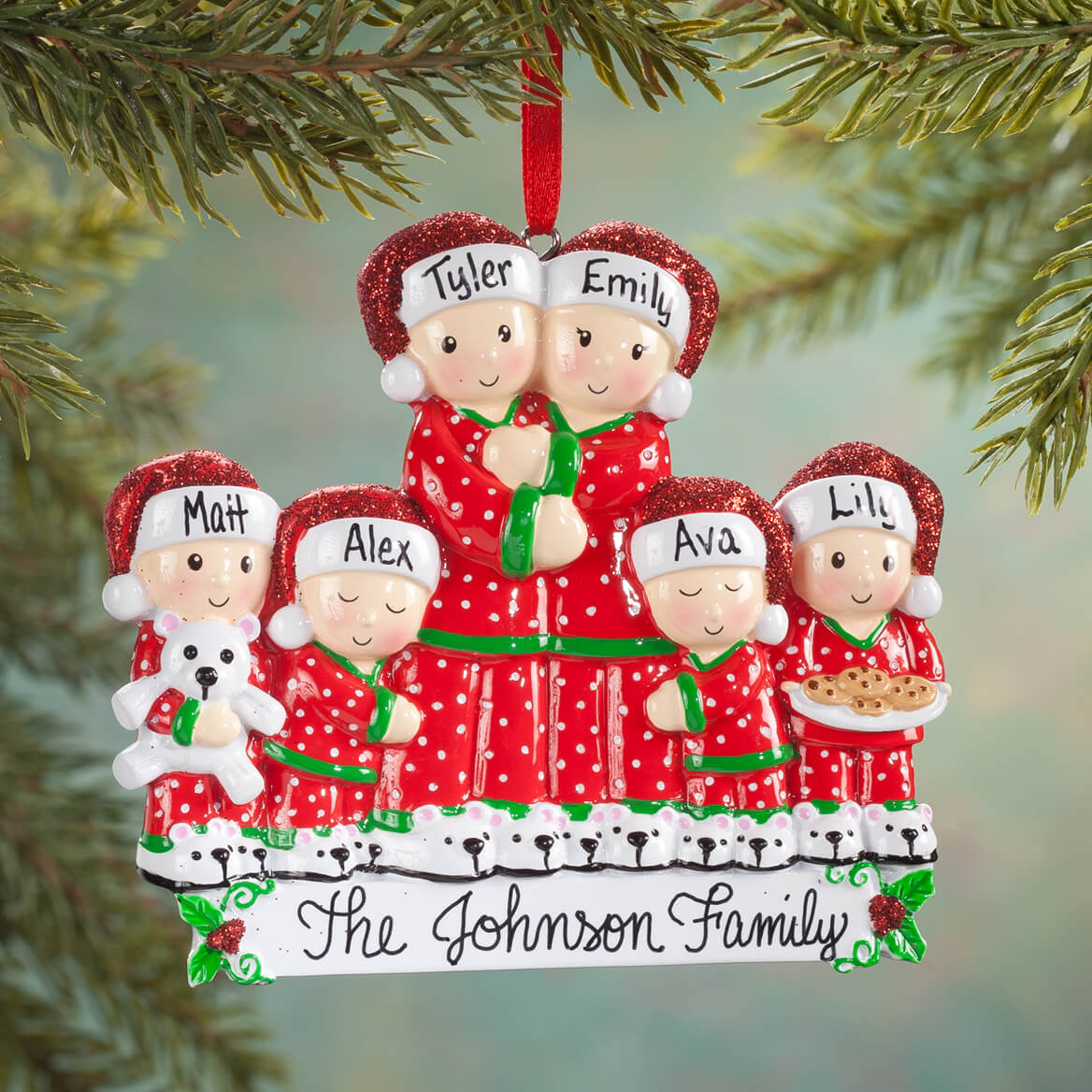 Personalized Family in Pajamas Ornament-356830