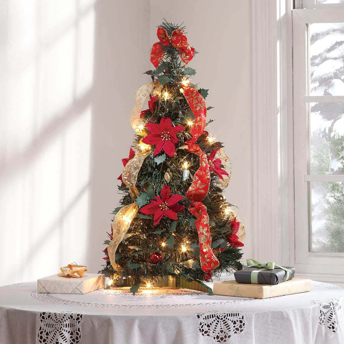 2 ft pull up fully decorated pre lit poinsettia tree by northwoods - Fully Decorated Christmas Tree