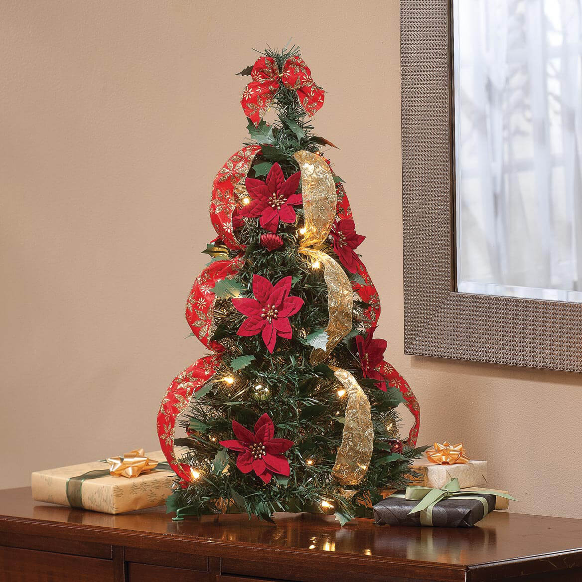 2' Pull Up Fully Decorated Prelit Poinsettia Tree Holiday Pe-357691