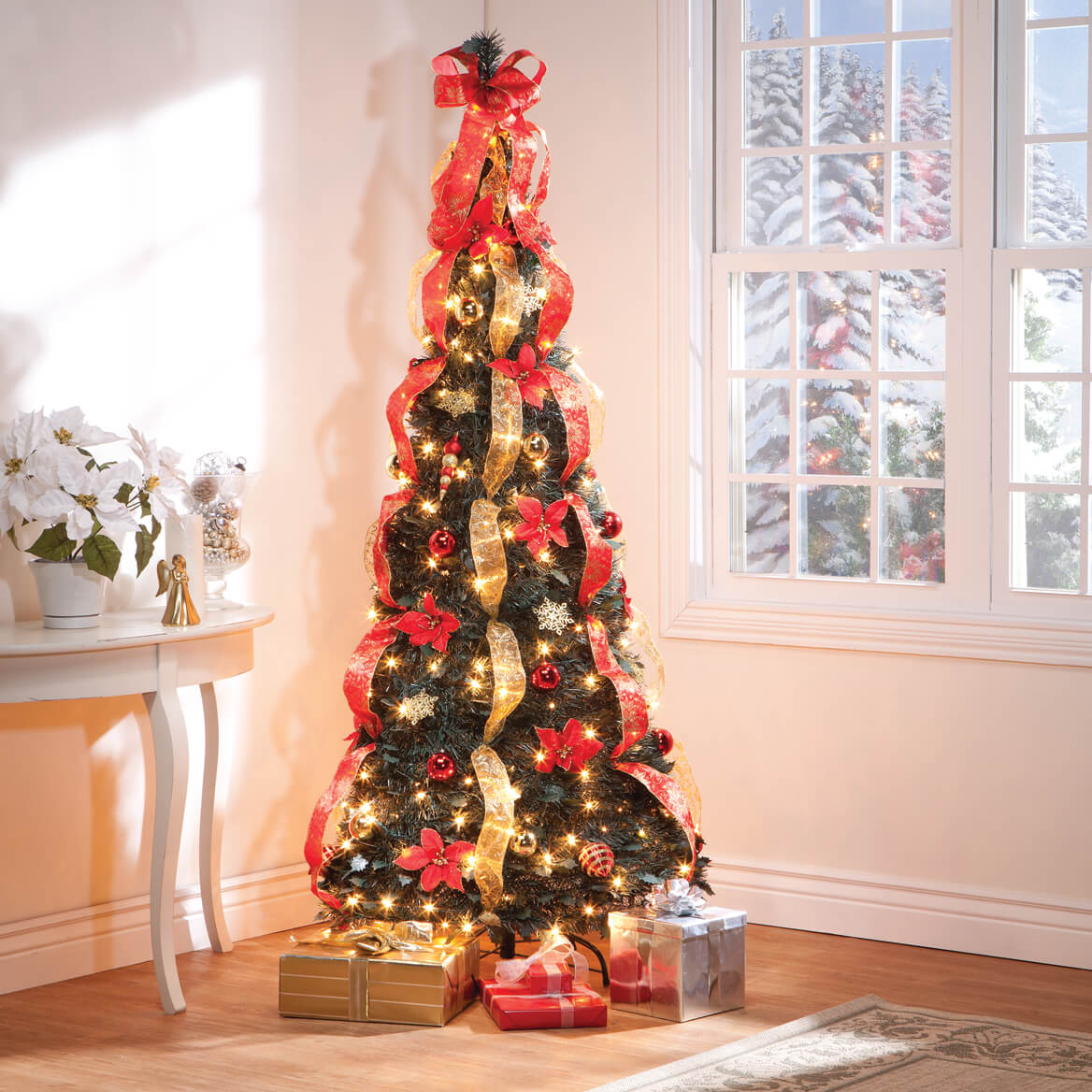 7' Red Poinsettia Pull-Up Tree by Holiday Peak™-357693