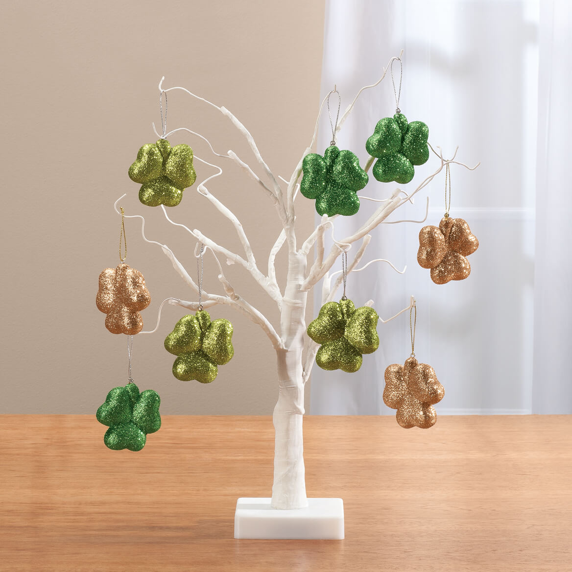"White Wire 18"" Tree with Shamrock Hanging Ornaments-358085"