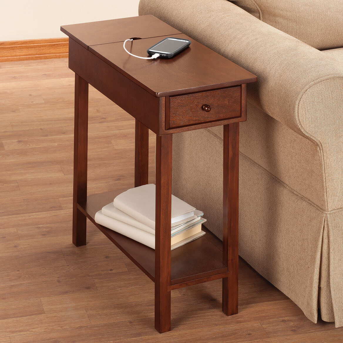 chairside table with usb power strip by oakridge