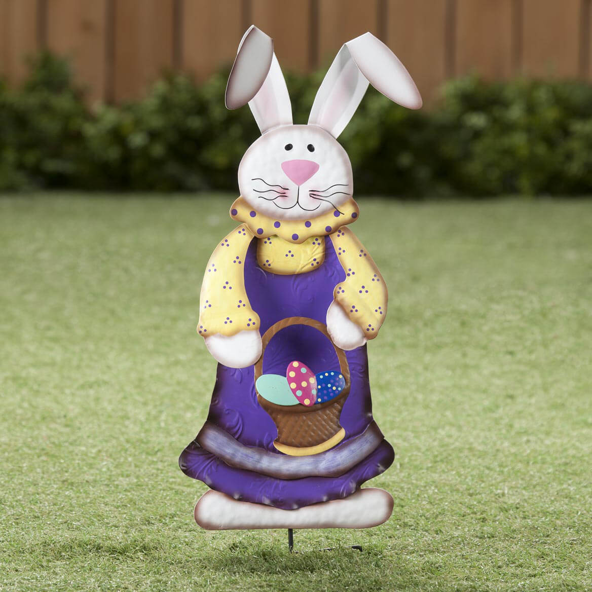 Charming Metal Easter Bunny Girl Garden Stake