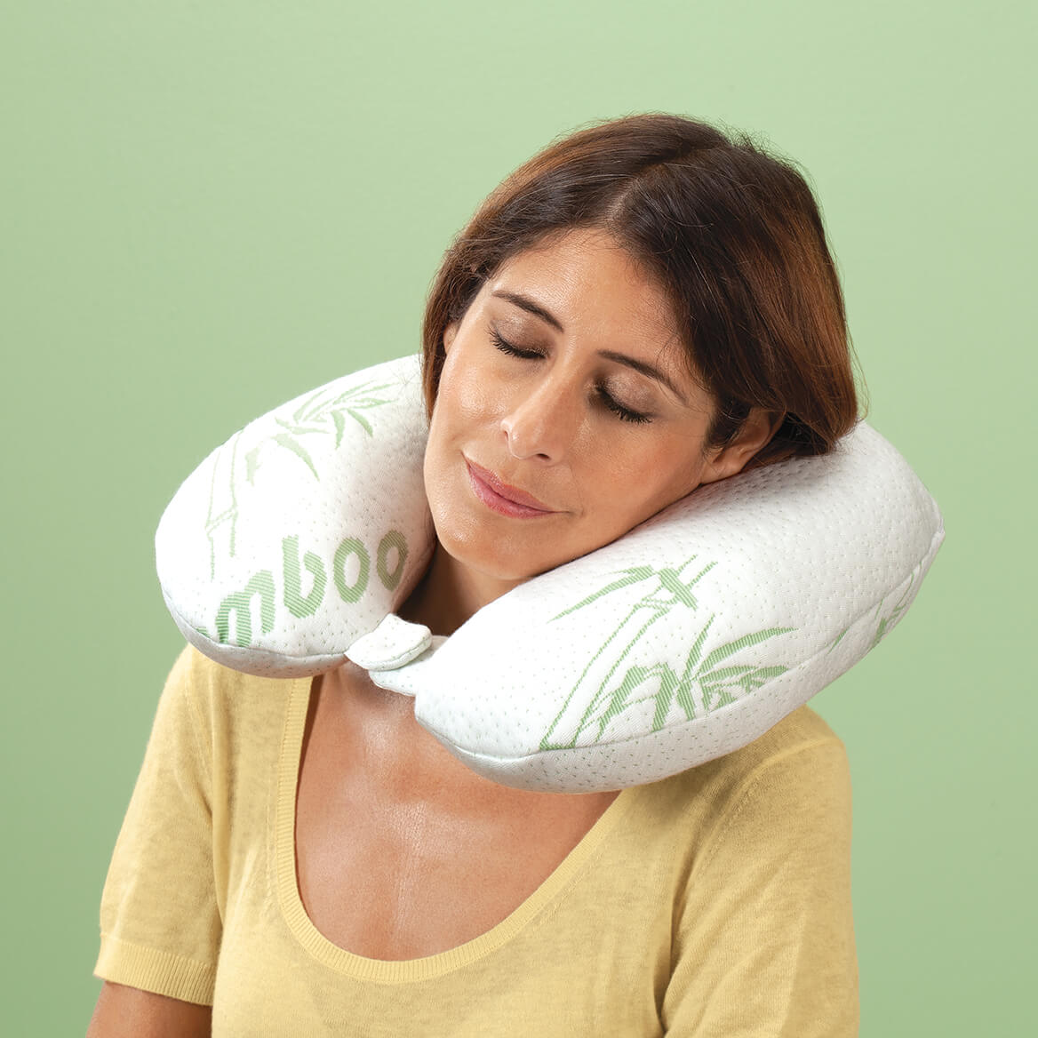 Memory Foam Neck Pillow with Bamboo Cover-358703