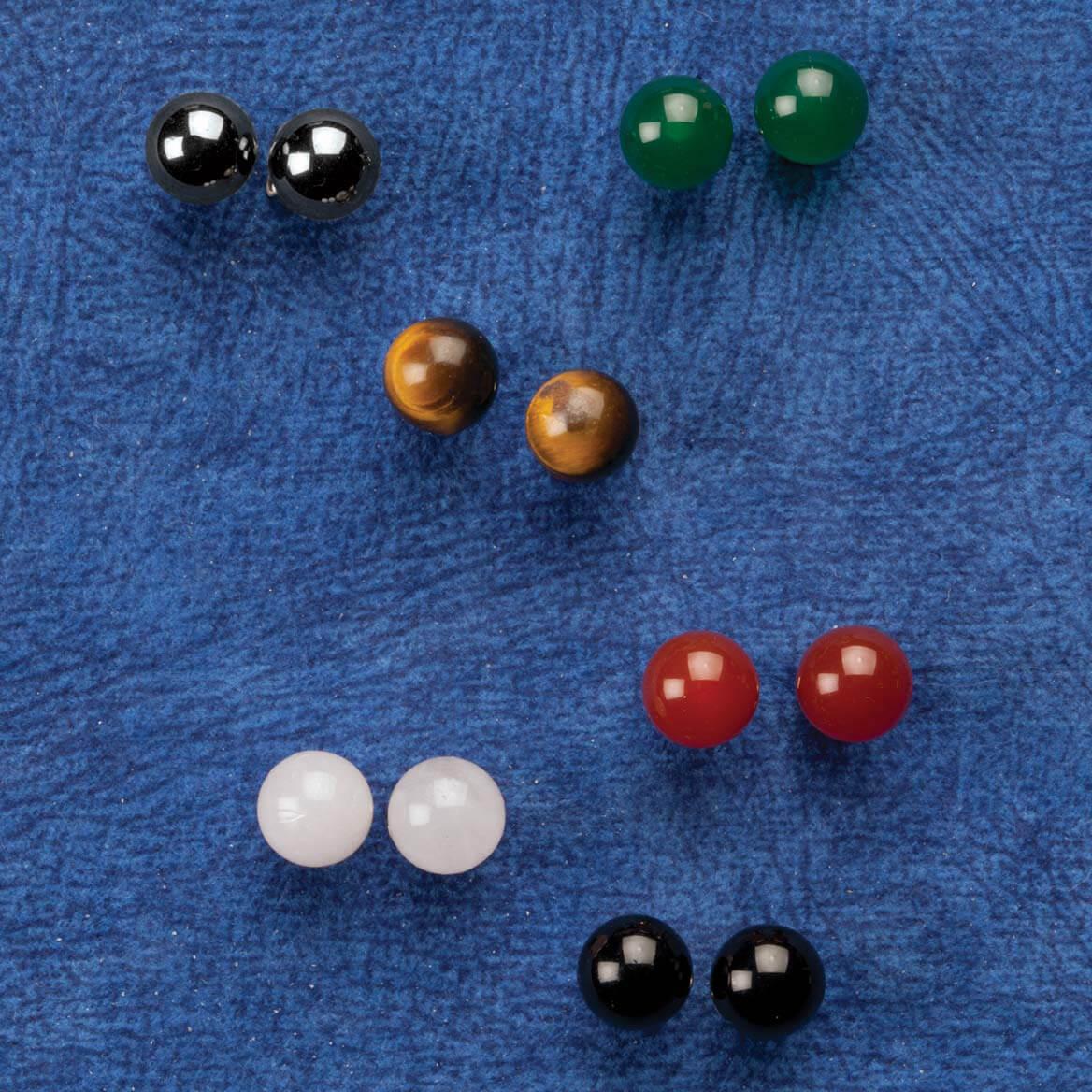 Genuine Gemstone Post Earrings Set of 6 pair-360067