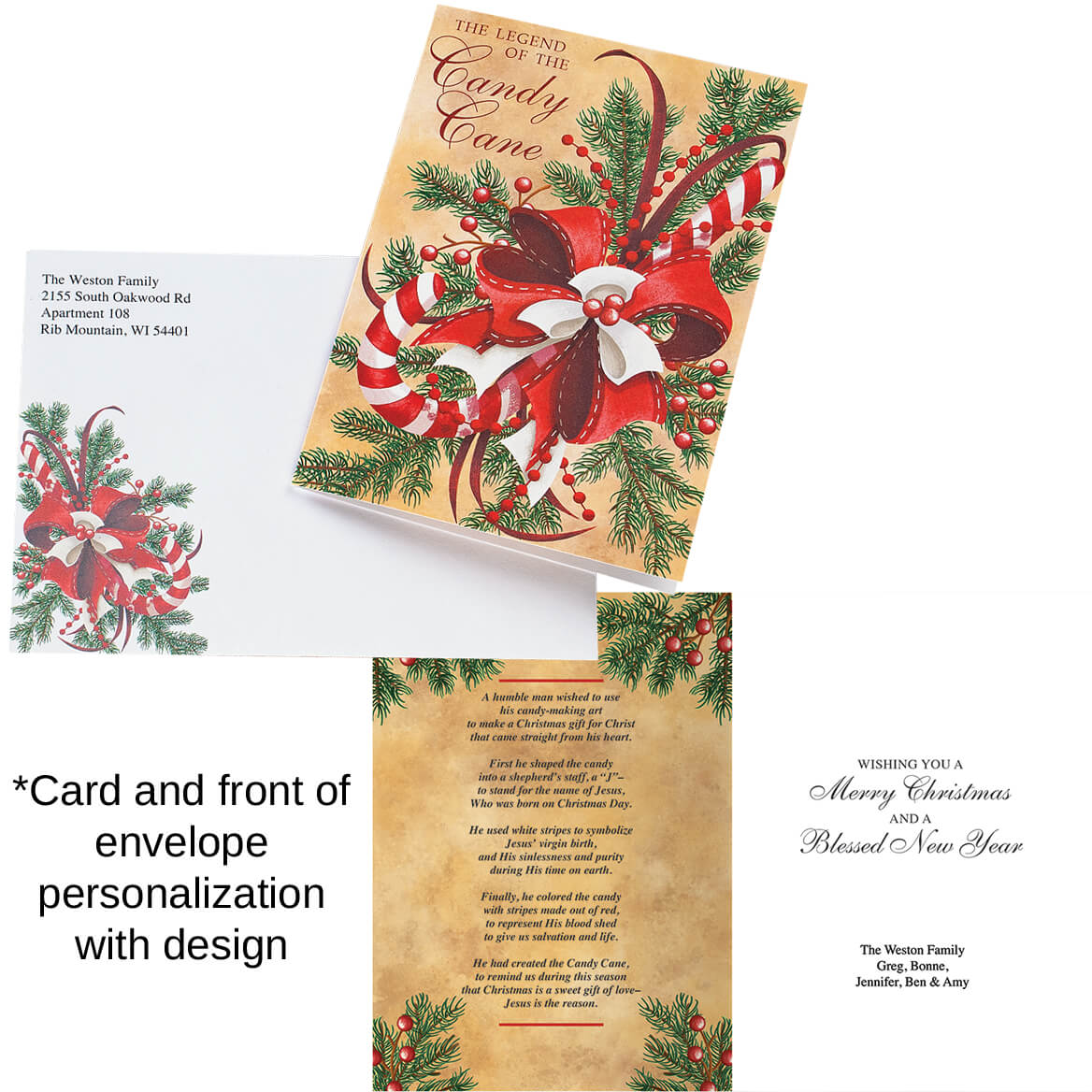 personalized legend of candy cane scented christmas cards set of 20 360215