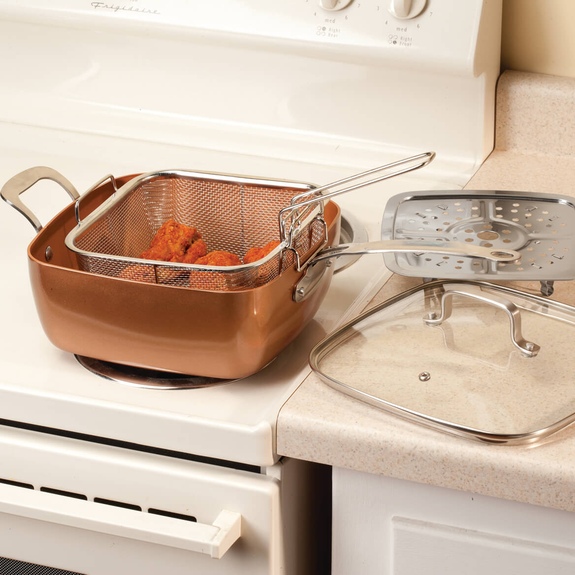 4-pc Square Copper Cookware Pan Set-360233