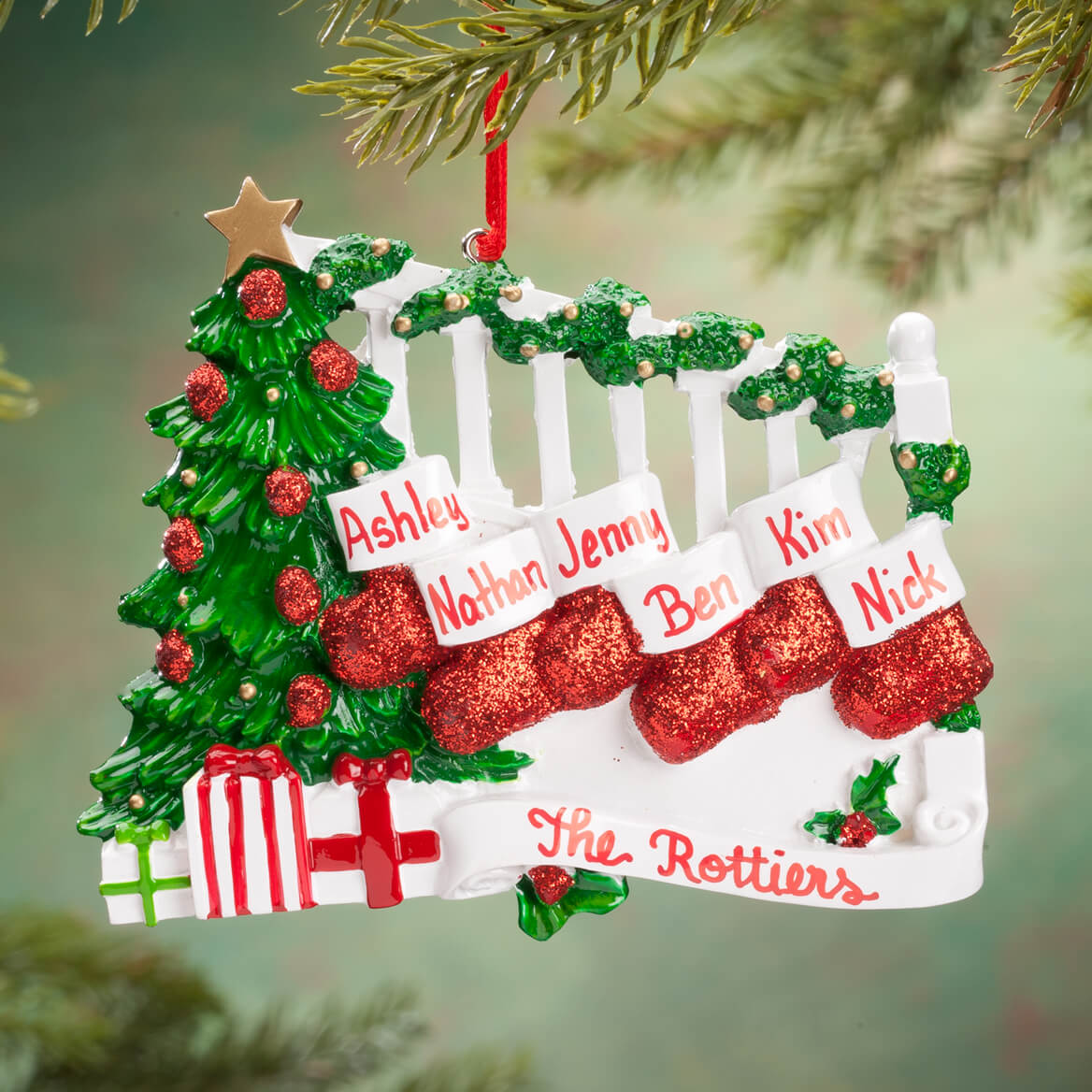Personalized Stockings on Stairs Family Ornament-360614