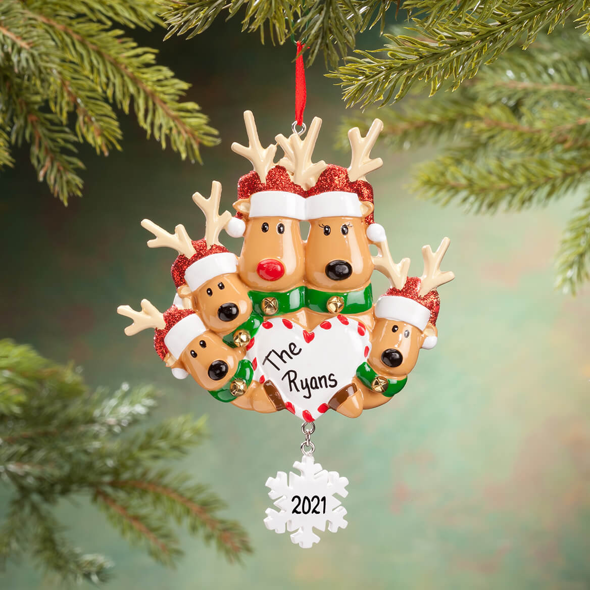Personalized Reindeer Family Ornament-360620