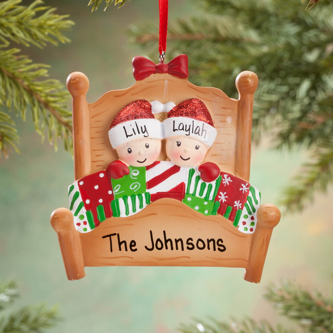 personalized family in bed ornament 360621
