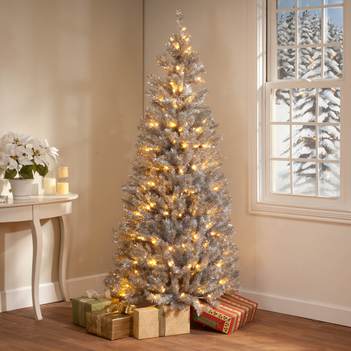 Tinsel Christmas Tree: 6-Foot Silver Tinsel Tree With Lights By Northwoods