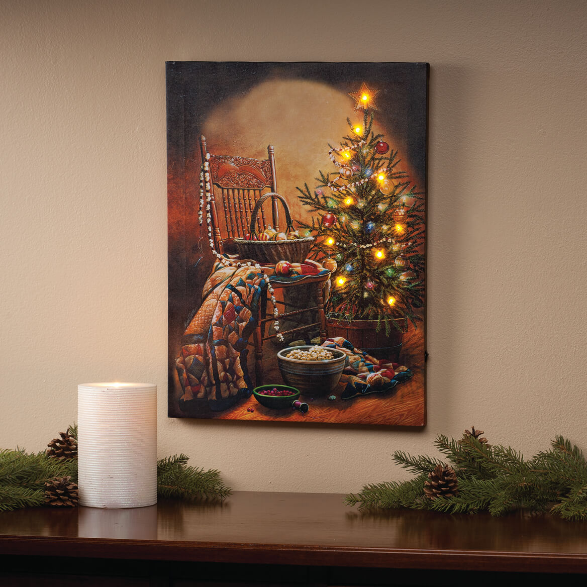 doug knutson lighted country christmas canvas by northwoods 360897 - Peanuts Indoor Christmas Decorations