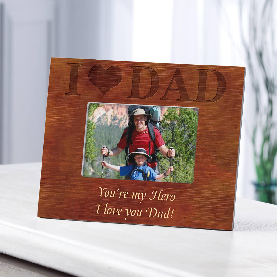 Personalized Woodgrain I Love Dad Frame-361178