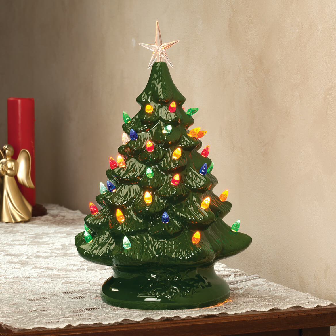 Ceramic Christmas Tree With Lights.Details About Grandmas Retro Nostalgic Ceramic Green Glaze Lighted Table Top Christmas Tree