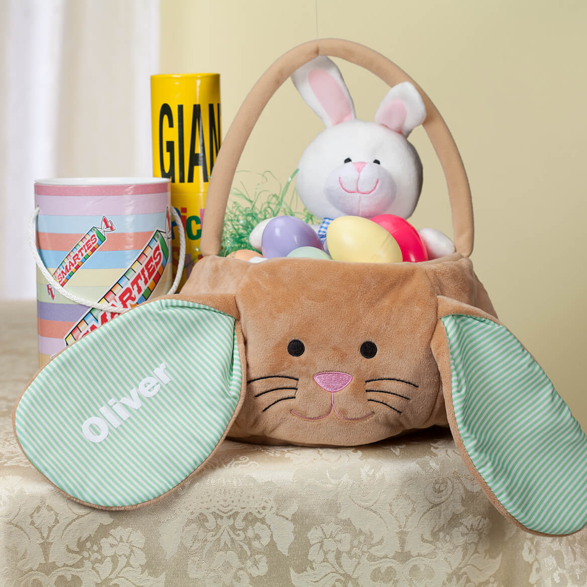 Personalized Brown Bunny Pin Stripe Easter Basket-361692