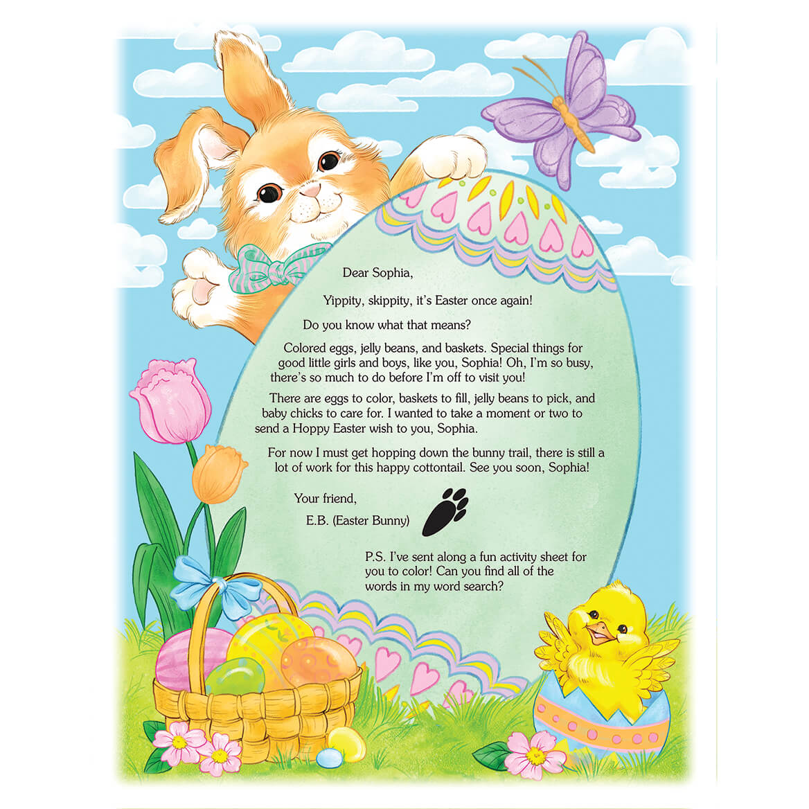 2021 Letter and Sheet of Stickers Gift From Easter Bunny-361913