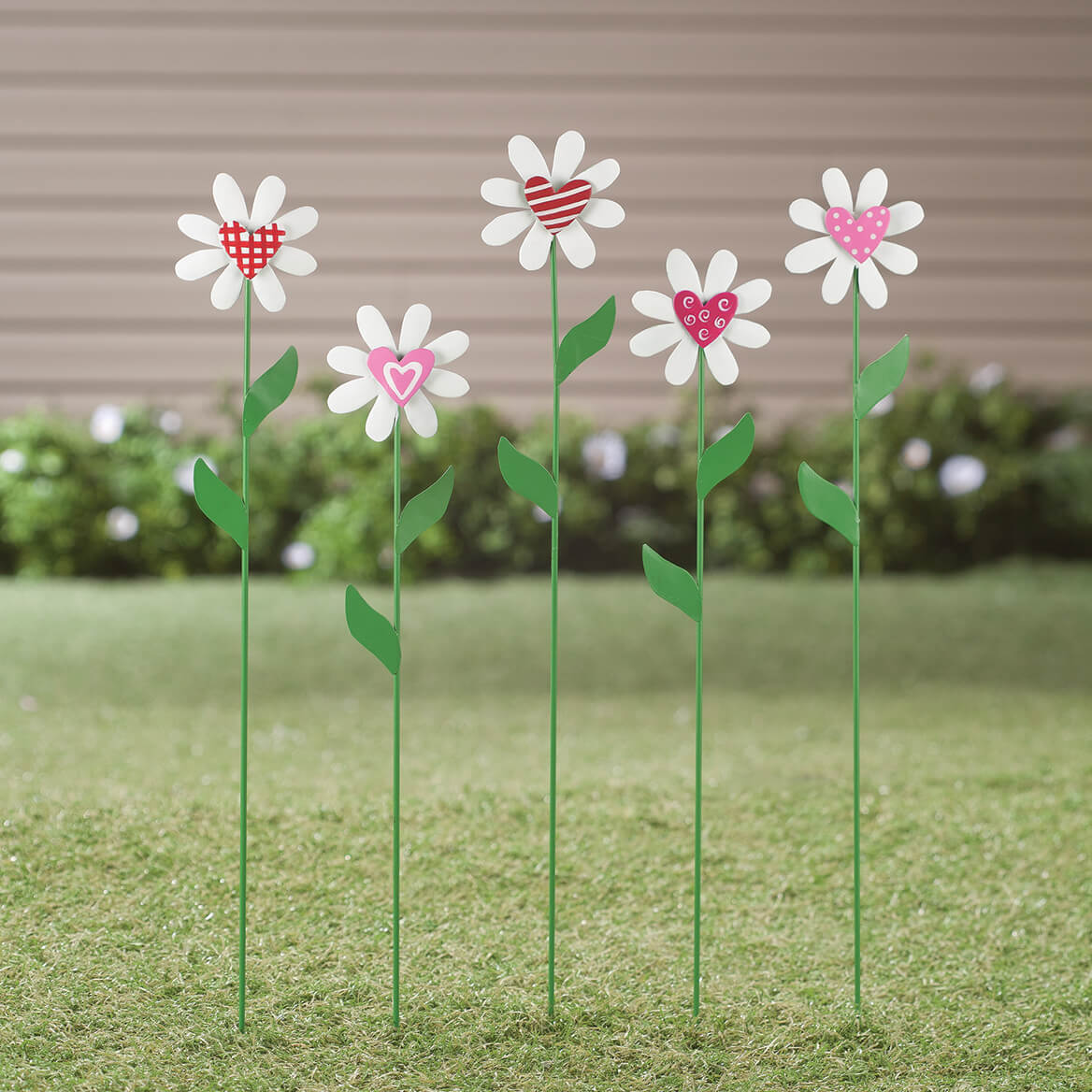 f2f85947d35e ... Metal Daisy Heart Stakes, Set of 5 by Maple Lane Creations™-362323