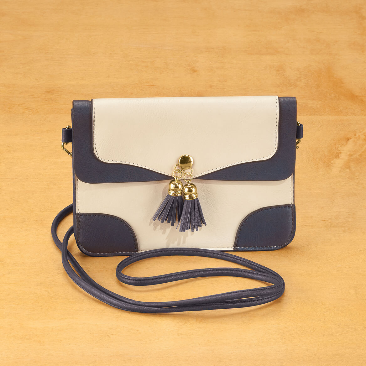 cd31f489a635 ... Urban Energy™ Cross Body Bag With Tassels (taupe navy)-362411
