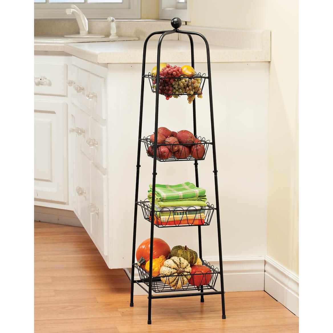 4 tier metal basket tower storage stand storage baskets miles kimball. Black Bedroom Furniture Sets. Home Design Ideas