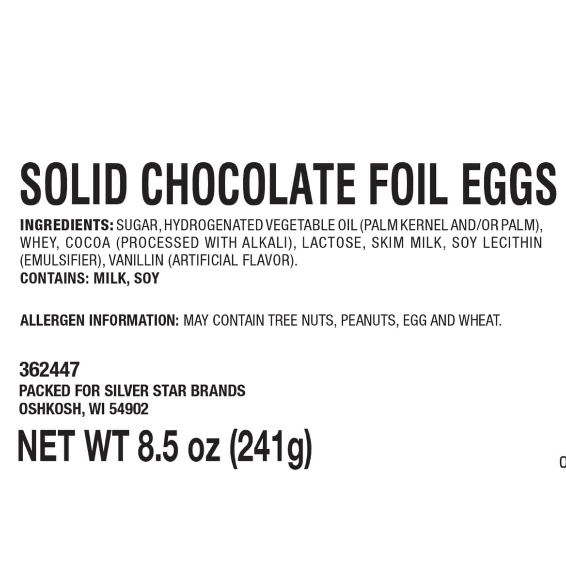 Solid Chocolate Foil Eggs, 8.5 oz.-362447